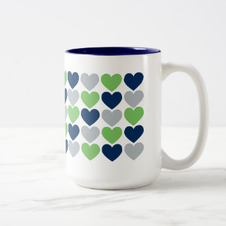 Lime and Navy Blue Hearts Coffee Mug