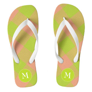 lime and pink buffalo plaid flip flops