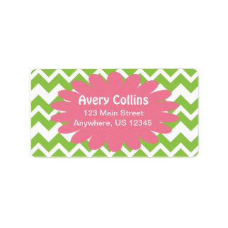 Lime and Pink Chevron Zigzag Labels