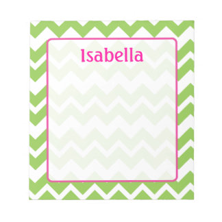 Lime and Pink Chevron Zigzag Notepad