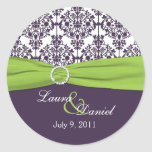 """Lime and Purple Damask 1.5"""" Round Sticker"""