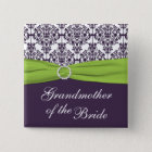 Lime and Purple Damask Grandmother of the Bride 2 Inch Square Button