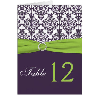 Lime and Purple Damask Table Number Card