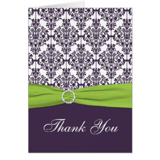 Lime and Purple Damask Thank you Card