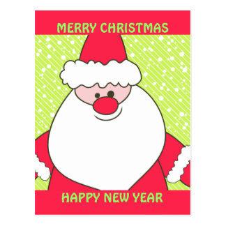 Lime and Red Santa Postcard