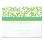 "Lime and Teal Wedding RSVP 4.25"" X 5.5"" Invitation Card"