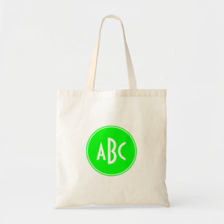 Lime and White Circle Monogram Tote Bag