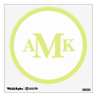 Lime and White Circle Monogram Wall Decal