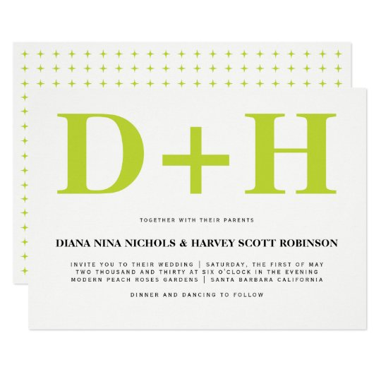 Lime and white initials bold typography wedding card