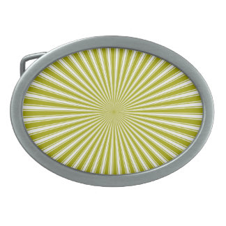Lime and White Sun Funky Abstract Art Oval Belt Buckles