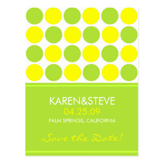 Lime and Yellow Save the Dates Postcard