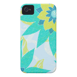 Lime & Aqua Flowers iPhone 4 Case