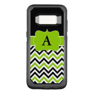 Lime Black Chevron Monogram OtterBox Commuter Samsung Galaxy S8 Case
