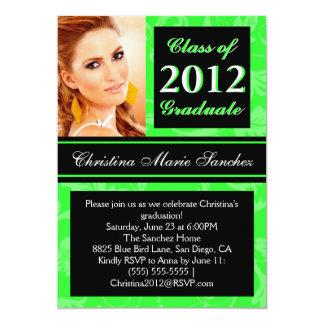 """Lime Black Floral Swirl 2012 Graduate Invite 5"""" X 7"""" Invitation Card"""