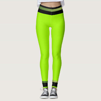 Lime Black Sporty Style Brights Fun Sports Leggings