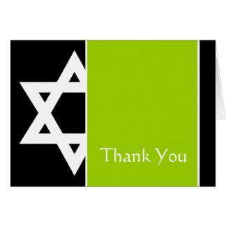 Lime Black Star of David Bar Mitzvah Thank You Card