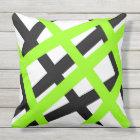 Lime Black Stripe Geometric Throw Pillow