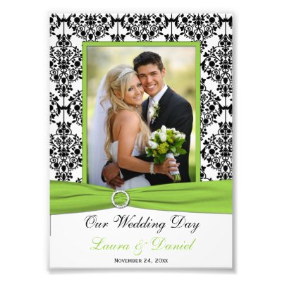 This black and white damask photo print with lime green FAUX ribbon and