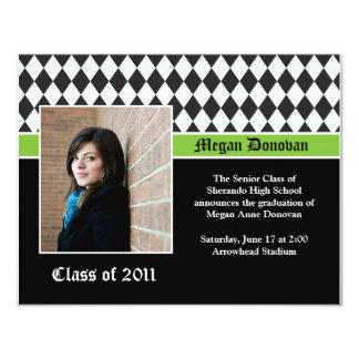 Lime Black White Graduation Invitation