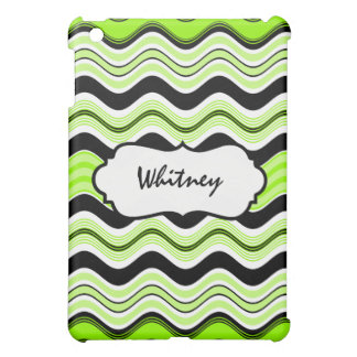 Lime, Black, White Waves Personalized  iPad Mini Cover