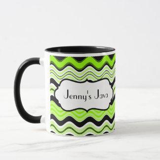 Lime, Black, White Wavy Stripes Personalized Mug