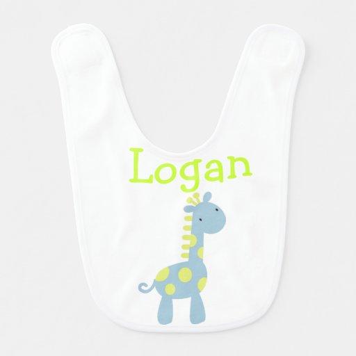 Lime & Blue Baby Giraffe Bib Bib