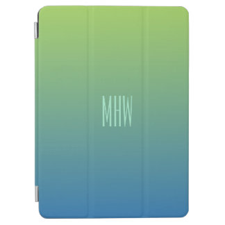 Lime Blue Gradient custom monogram device covers iPad Air Cover