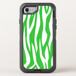 Lime Blue Zebra Print OtterBox Defender iPhone 7 Case
