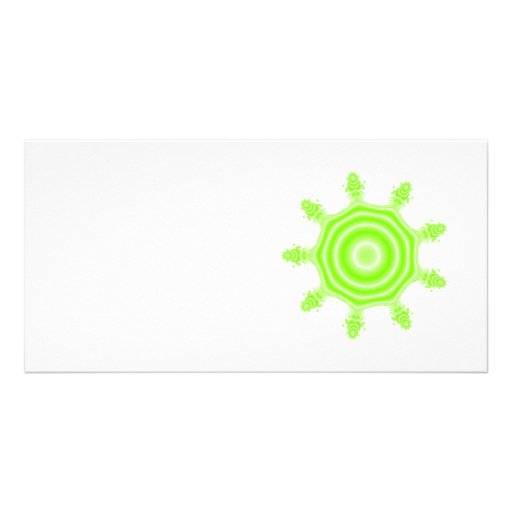 Lime Burst Fractal. Green and white. Personalized Photo Card