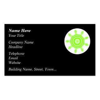 Lime Burst Fractal. Green, black and white. Business Card
