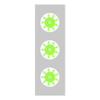 Lime Burst Fractal. Green, gray and white. Mini Business Card