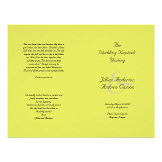 Lime Catholic Folded Wedding Program Template