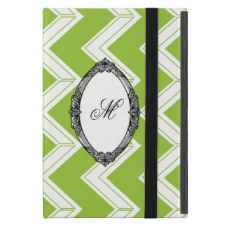 Lime Chevron Monogram Cover For iPad Mini