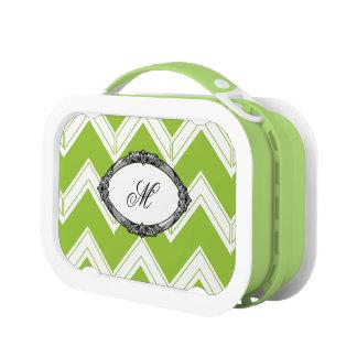 Lime Chevron Monogram Lunch Box