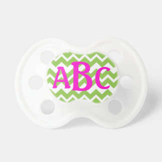 Lime Chevron ZigZag Monogram Pacifier