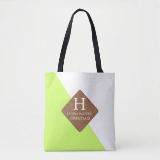 Lime Color Split Faux Leather Patch Monogram Tote Bag