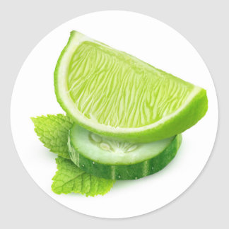 Lime, cucumber and mint classic round sticker