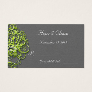 Lime Damask Love Tree Wedding  Place Cards