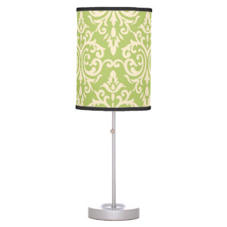 Lime Damask Pattern Lamp