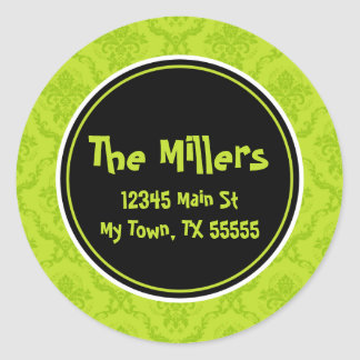 Lime Damask Round Address Stickers
