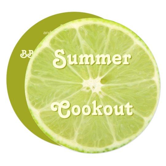 Lime Fruit Fresh Slice Summer Cookout Invitation