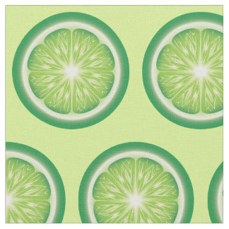 Lime Fruit Slices Pattern Fabric