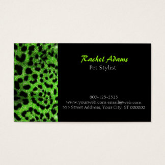 Lime Glitter Cheetah Pet Groomer Business Card