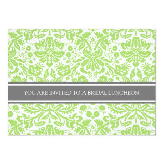 Lime Gray Damask Bridal Lunch Invitation