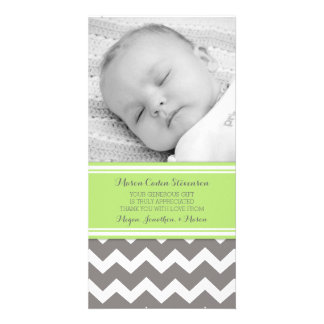 Lime Gray Thank You Baby Shower Photo Cards