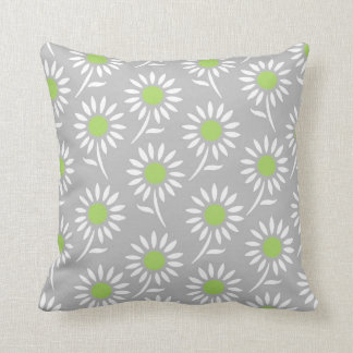Lime Gray White Floral Decorative Pillow