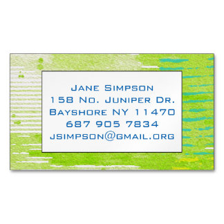 lime green abstract art magnetic business card