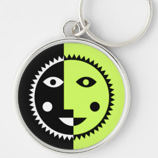 Lime Green Abstract Sun Silver-Colored Round Keychain