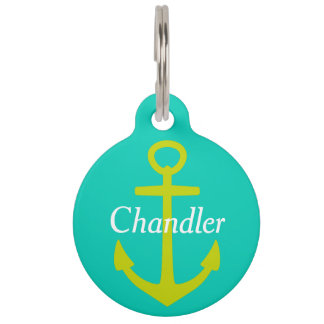 Lime Green Anchor on Island Sea Personalized Pet Tag