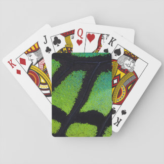 Lime green and black butterfly wing playing cards